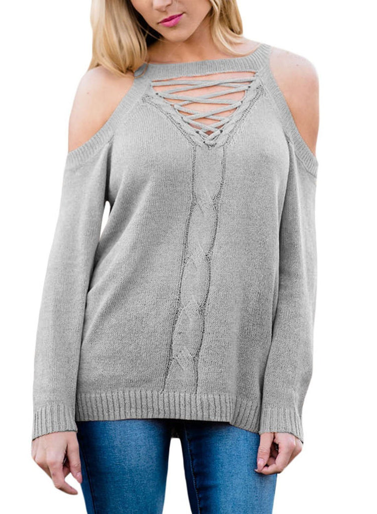 Cold Shoulder Lace up Knit Sweaters