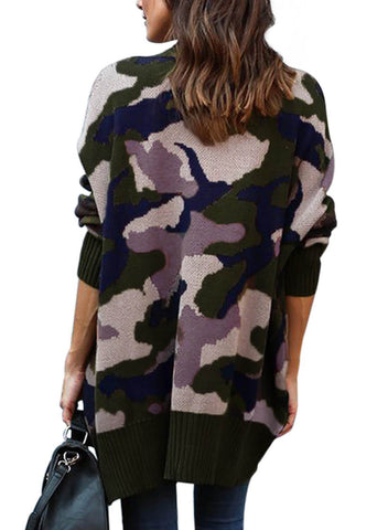 Image of Camo Pockets Open Front Cardigan