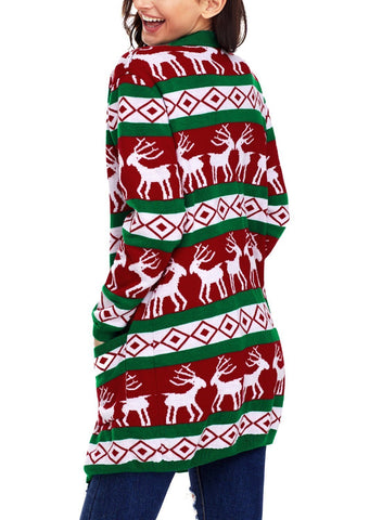 Image of Reindeer Geometric Christmas Cardigan 27806