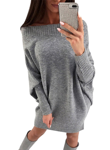 Image of Long Sleeve Baggy Sweater Dress