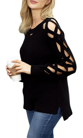Image of Cutout Detail Ribbed Knit Sweater