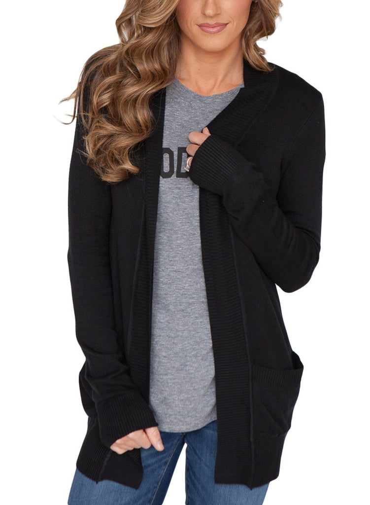 Pockets Knit Long Sleeve Cardigan