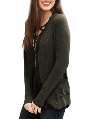 Image of Pockets Knit Long Sleeve Cardigan