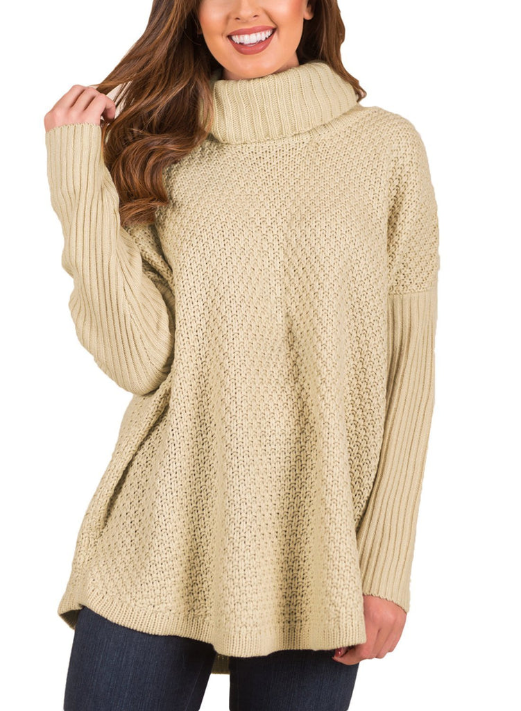 Ribbed Sleeves Turtleneck Sweater Pullover