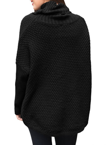 Image of Ribbed Sleeves Turtleneck Sweater Pullover
