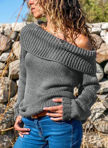Image of Turn-down Collar Show Shoulder Ribbed Sweater