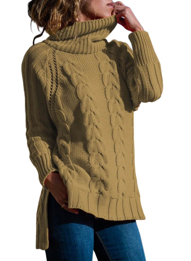 Turtle Neck Long Tail Cable Sweater