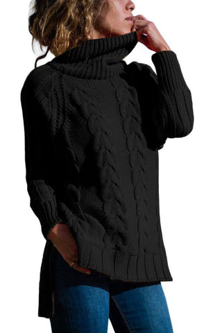 Image of Turtle Neck Long Tail Cable Sweater