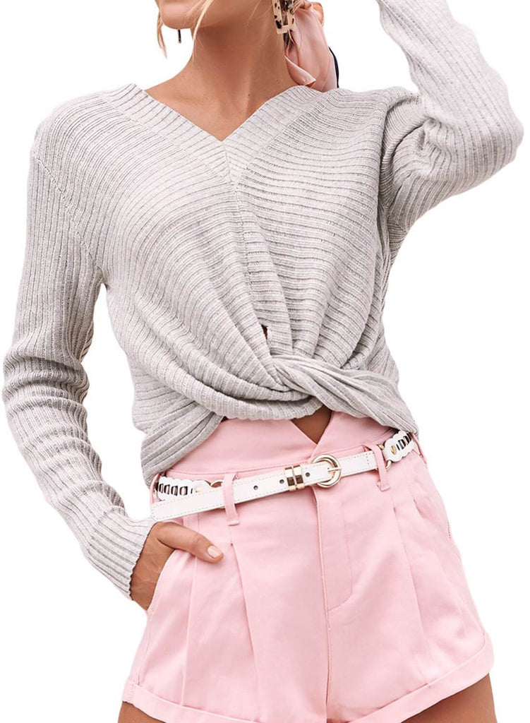 V Neck Twisted Crop Sweater