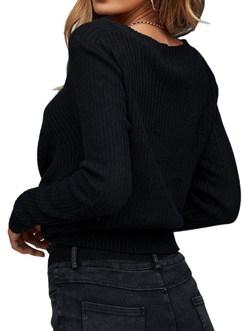Image of V Neck Twisted Crop Sweater