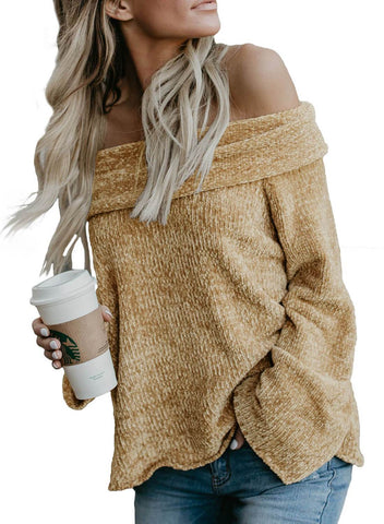 Soft Velvet Knit Off Shoulder Sweater