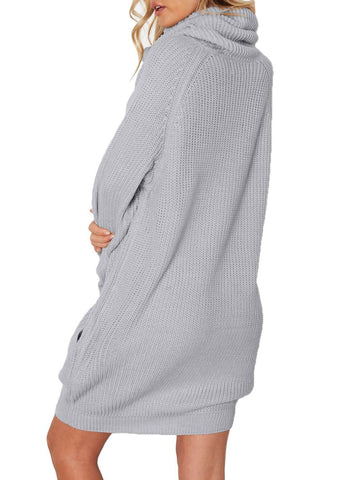 Image of Turtleneck Pockets Knit Mini Dress