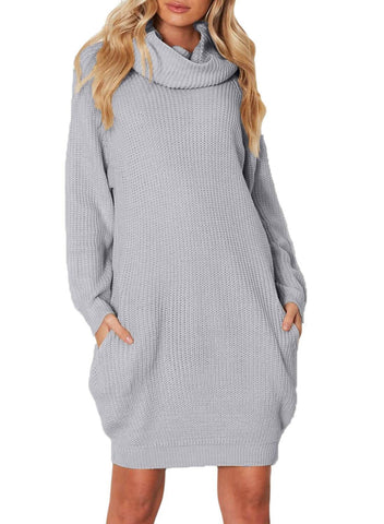Turtleneck Pockets Knit Mini Dress