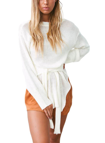 Side Split Belted Pullover Sweater