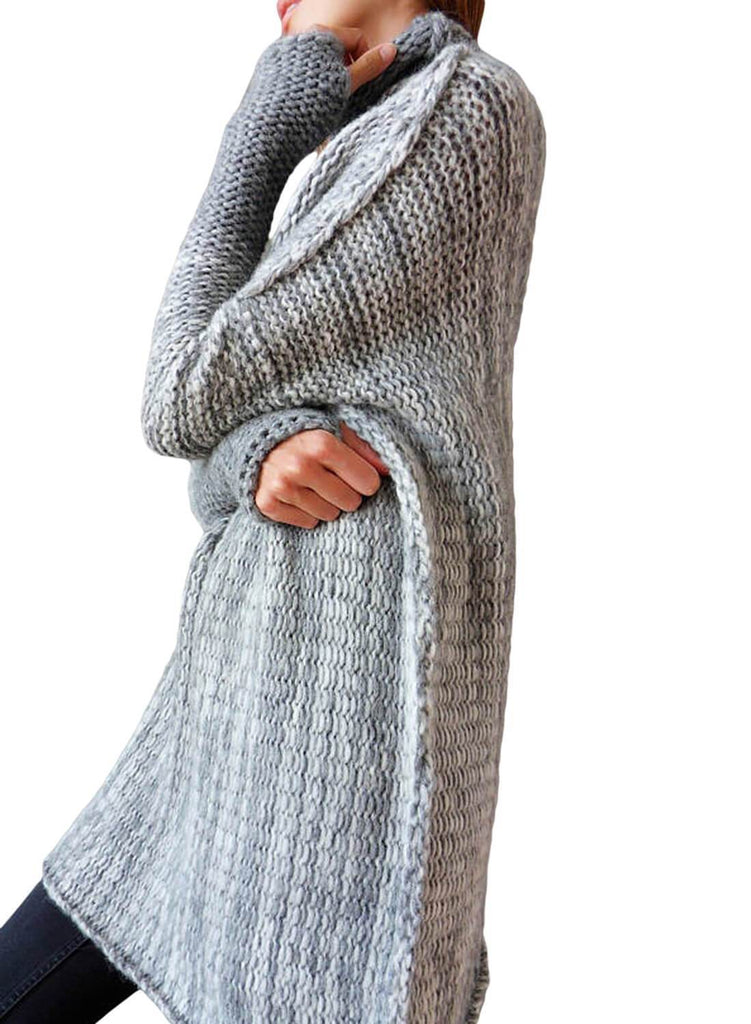 High Collar Long Sleeve Knitted Stitching Sweater