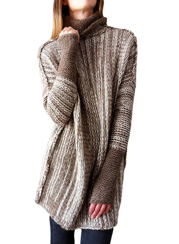 Image of High Collar Long Sleeve Knitted Stitching Sweater