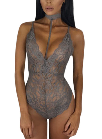 Sheer Lace Choker Neck Teddy Lingerie(LC32139-11-1)