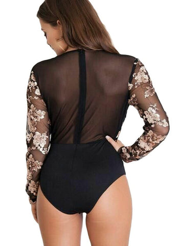 Image of Gold Sequin  Mesh Long Sleeve Bodysuit(LC32173-5-2)