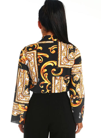 Printed Flare Long Sleeve Wrap Bodysuit(LC32212-2-2)