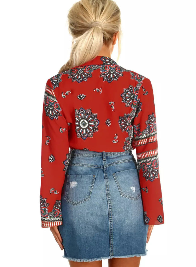 Printed Flare Long Sleeve Wrap Bodysuit(LC32212-3-2)