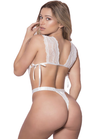 Satin Reinforced White Sheer Lace Teddy(LC32264-1-2)