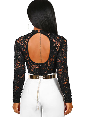 Cutout Back Floral Lace Long Sleeve Bodysuit(32304-2-2)