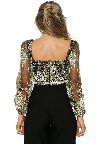 Sheer Long Sleeve Princess Rhinestone Bodysuit(LC32311-2-4)