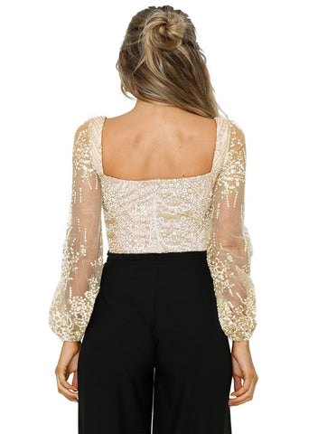 Sheer Long Sleeve Princess Rhinestone Bodysuit(LC32311-21-2)
