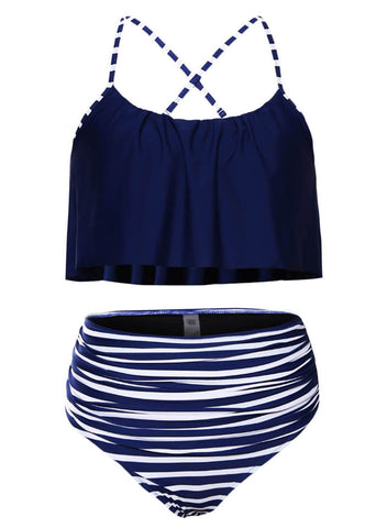 Thin Shoulder Straps Ruched High-waisted Bikini Swimsuit