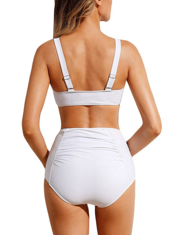 Tie Front Bikini Ruched High Waist Swimsuit 410655