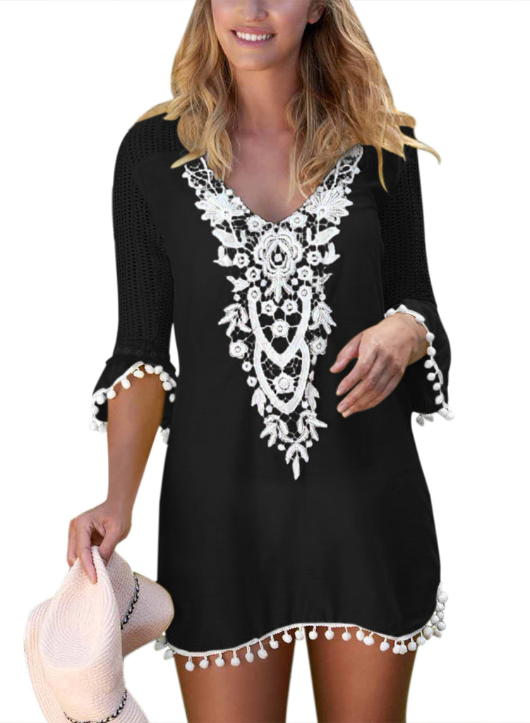 Crochet Pom Pom Trim Beach Tunic Cover up