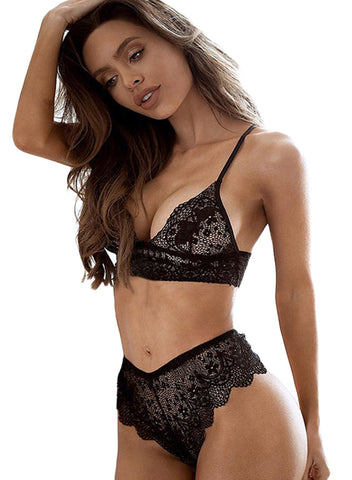 Lace Bralette Erotic 2pcs Lingerie Set (LC43054-1-2)