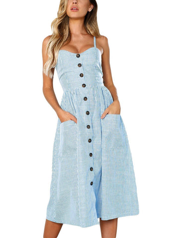Image of Striped Button Down Mid Calf Dress