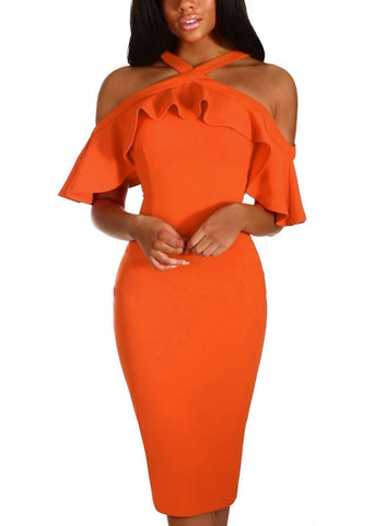 Frill Cold Shoulder Midi Dress