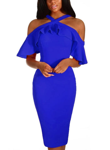 Image of Frill Cold Shoulder Midi Dress