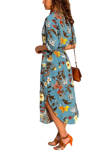 Image of Floral Print Button Down Belted Shirt Dress