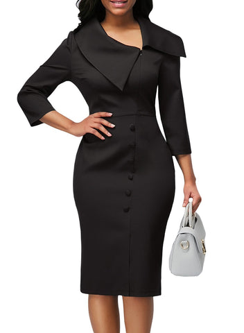 3/4 Sleeve Button Detail Bodycon Midi Dress