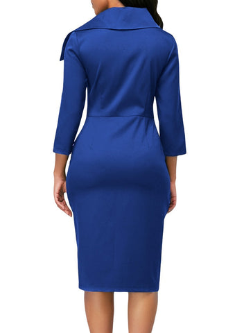 Image of 3/4 Sleeve Button Detail Bodycon Midi Dress