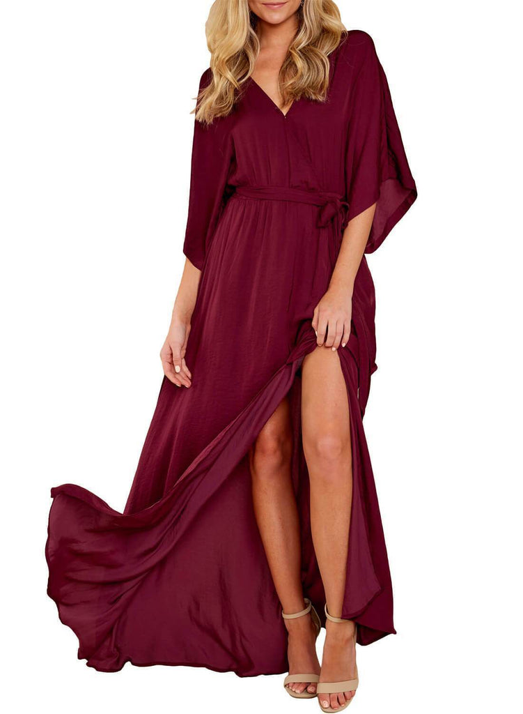 Split V Neck Belt Maxi Dress