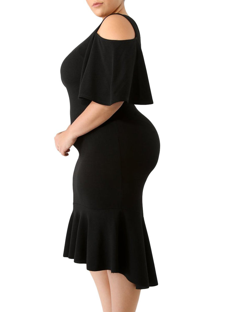 Flutter Sleeve Cold Shoulder Plus Size Dress