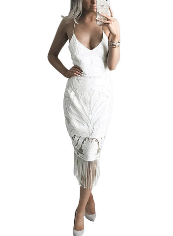 Image of Fashion Tassel Backless Lace Dress