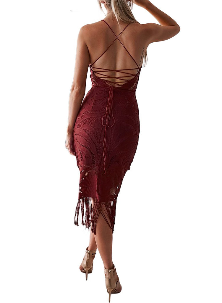 Fashion Tassel Backless Lace Dress