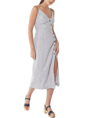 Button-down Linen Midi Dress (LC610290-19-1)