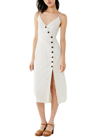 Button-down Linen Midi Dress (LC610290-1-1)