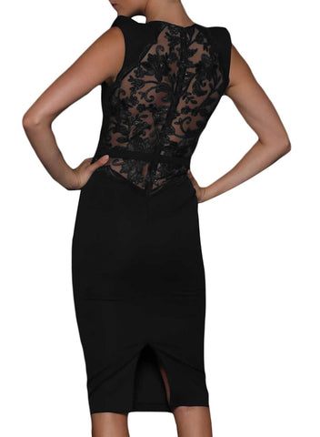 Image of Sheer Lace Back Sleeveless Midi Dress