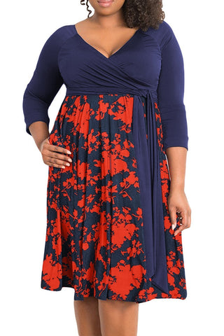 3/4 Sleeve Floral Plus Size Dress