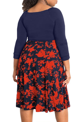 Image of 3/4 Sleeve Floral Plus Size Dress