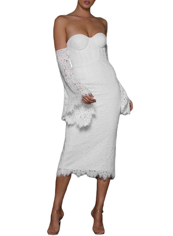 Image of Lace Bell Sleeve Bodycon Midi Dress