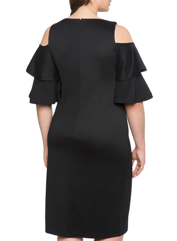 Image of Plus Size Flounce Sleeve Cold Shoulder Dress