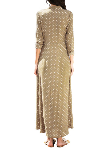 Image of Polka Dot Button Down Maxi Shirt Dress
